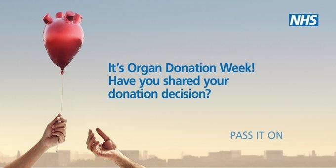 Organ Donation Week – 2 September 2019.