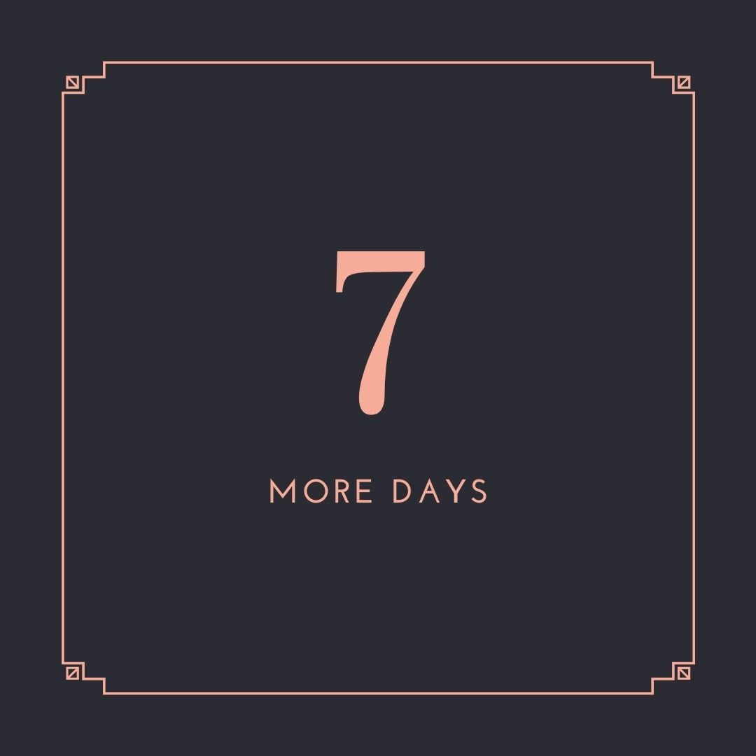 1 week to go…..